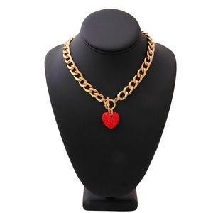 Red Rhinestone Heart Toggle Necklace